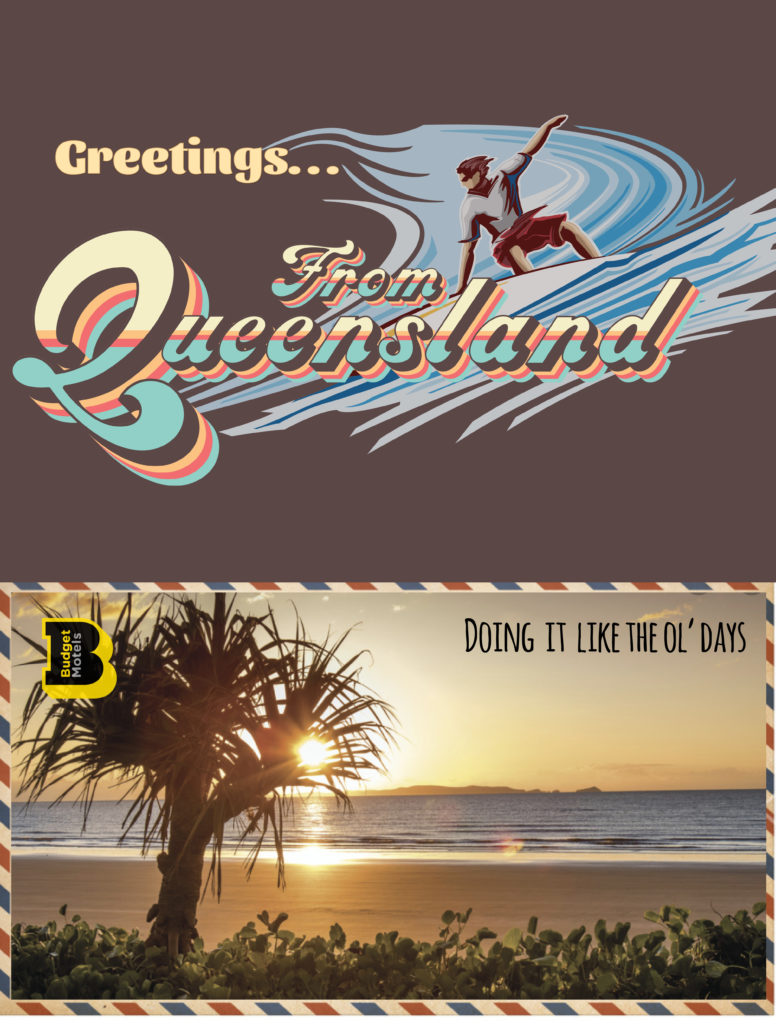 Budget Motel Chain Greetings from Queensland #VisitQueensland #TourismQueensland #HolidayQueensland